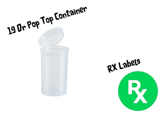Pop Top Squeeze Pot Stash Can With RX Medical Labels